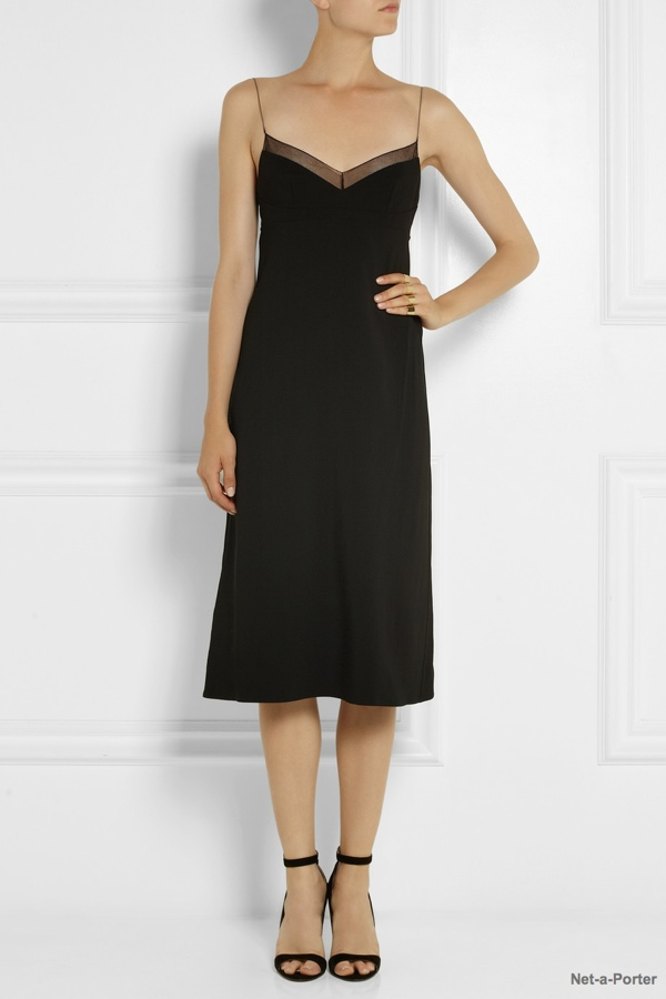 Calvin Klein Collection Karlyn chiffon-trimmed stretch-crepe dress available exclusively at Net-a-Porter for $1,700.00