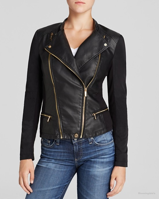Calvin Klein Faux Leather Moto Jacket available at Bloomingdale's for $198.00