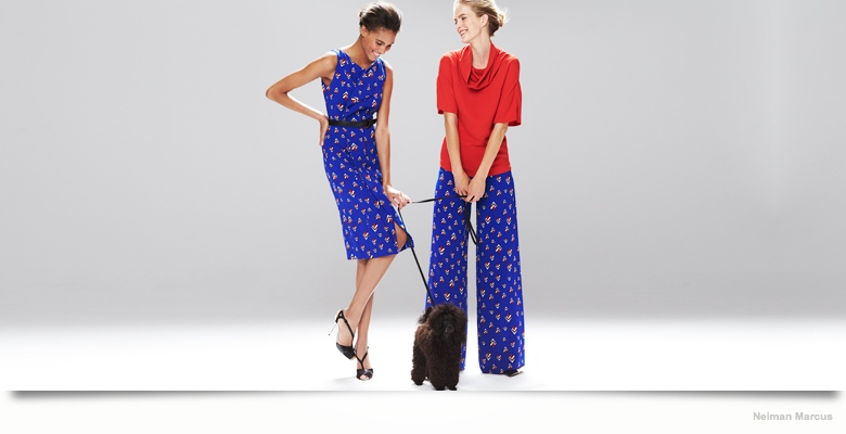 carolina herrera dresses neiman marcus02 Mirte Maas & Cindy Bruna in Carolina Herrera Fall 2014 Dresses for Neiman Marcus