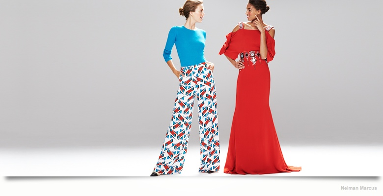 carolina herrera dresses neiman marcus03 Mirte Maas & Cindy Bruna in Carolina Herrera Fall 2014 Dresses for Neiman Marcus