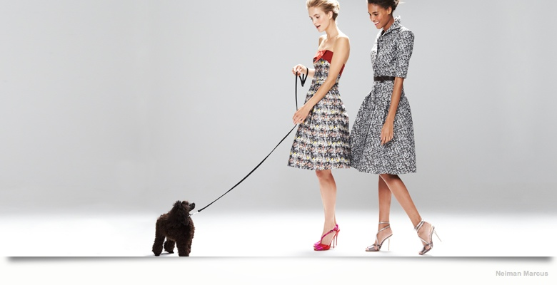 carolina herrera dresses neiman marcus05 Mirte Maas & Cindy Bruna in Carolina Herrera Fall 2014 Dresses for Neiman Marcus