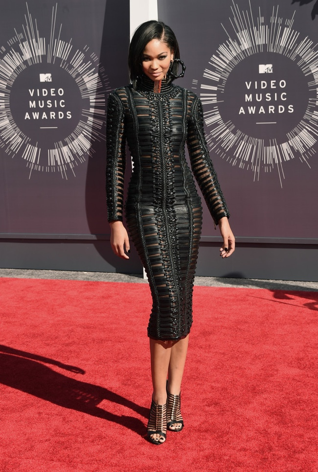 Chanel Iman wears black Balmain dress