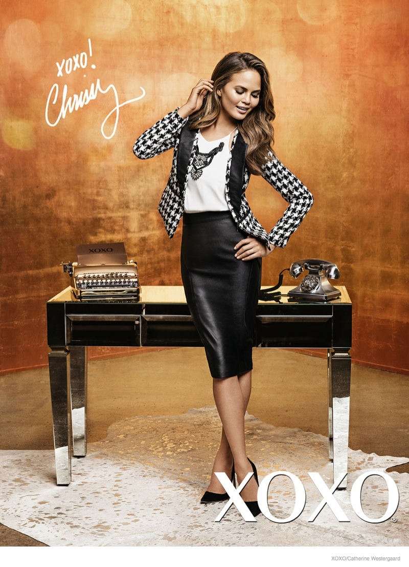 chrissy teigen xoxo 2014 fall ad campaign02 Chrissy Teigen Poses in Crop Tops, Dresses for XOXO Fall 2014 Ads