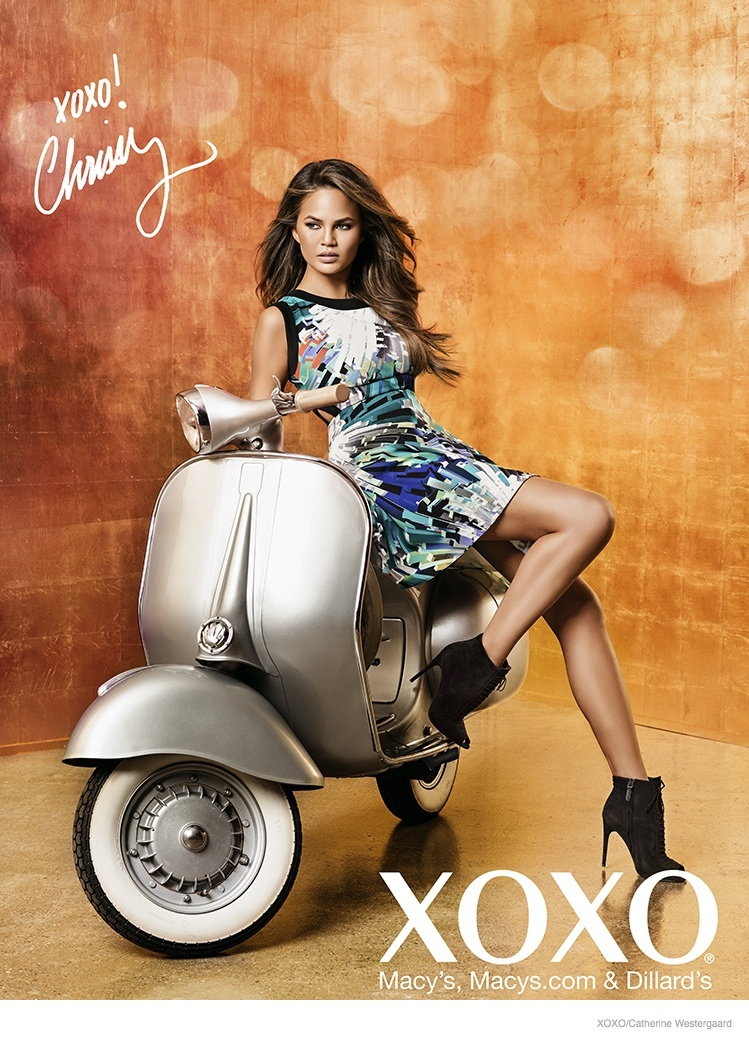 chrissy teigen xoxo 2014 fall ad campaign07 Chrissy Teigen Poses in Crop Tops, Dresses for XOXO Fall 2014 Ads