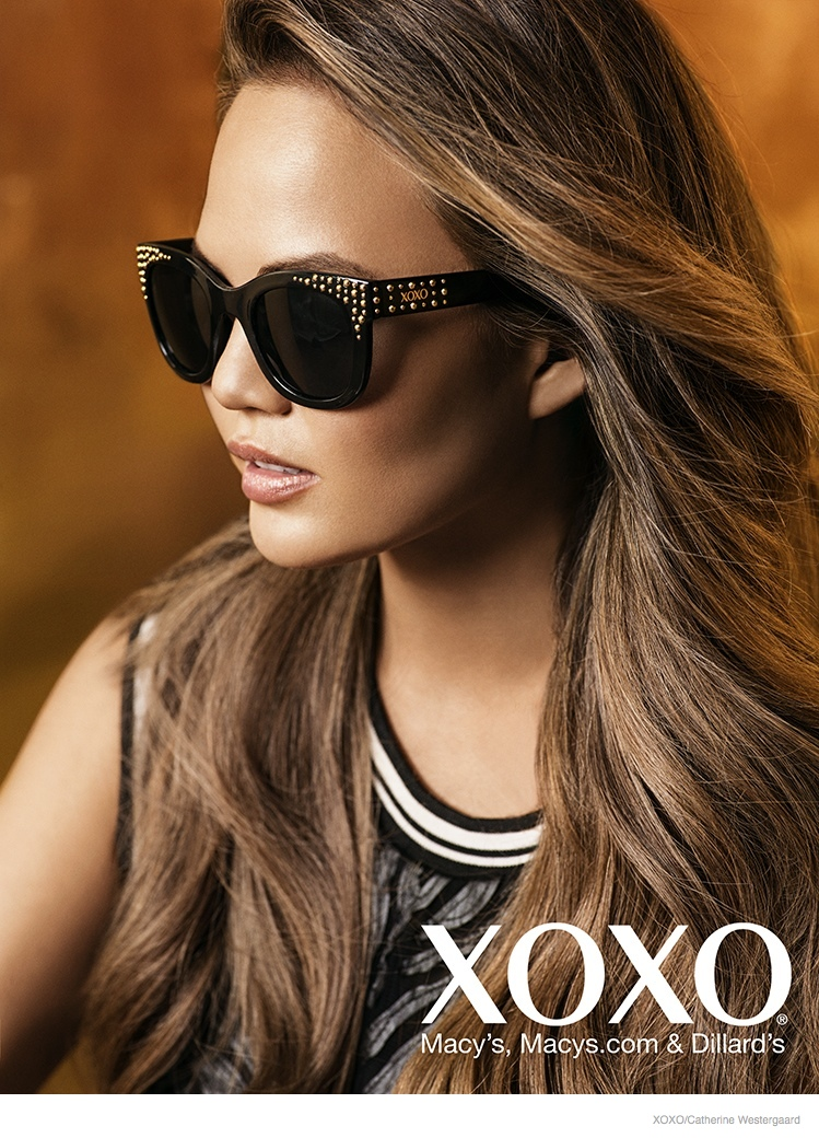 chrissy teigen xoxo 2014 fall ad campaign08 Chrissy Teigen Poses in Crop Tops, Dresses for XOXO Fall 2014 Ads