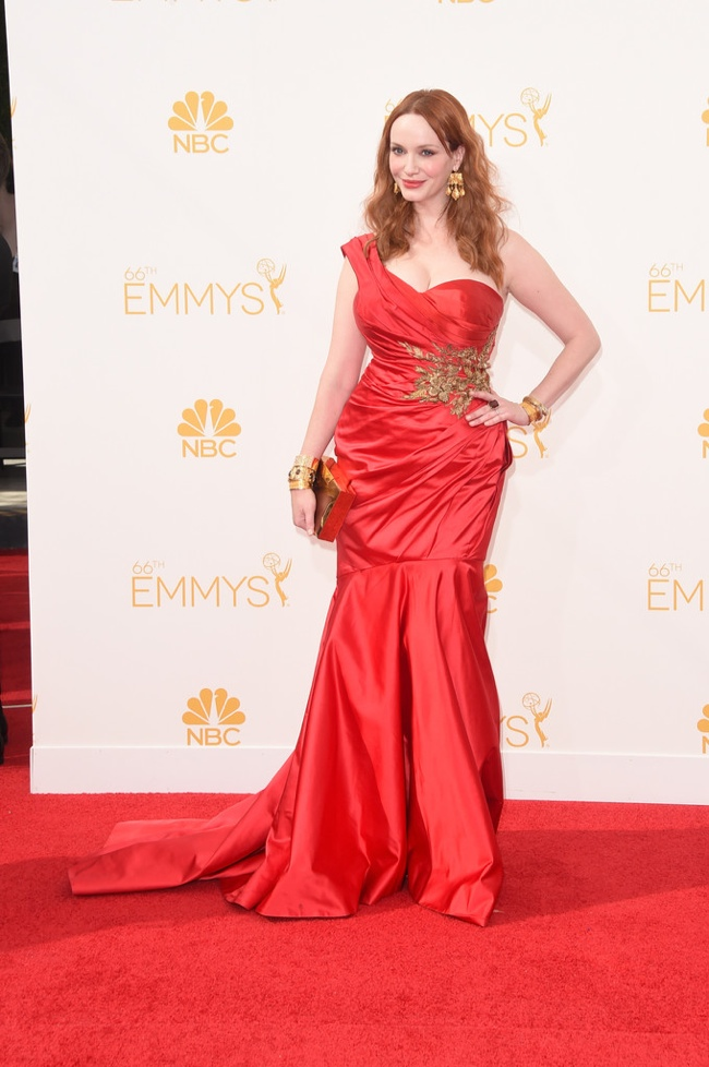 Christina Hendricks in red hot Marchesa gown