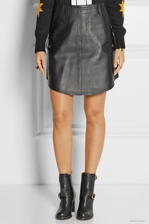Coach Leather mini skirt available at Net-a-Porter for $525.00