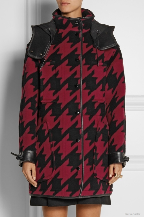 Coach Leather-trimmed houndstooth wool-blend parka available at Net-a-Porter for $1,495.00