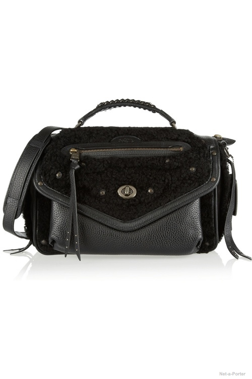 Coach Rhyder leather, shearling and nubuck shoulder bag available at Net-a-Porter $1,300.00