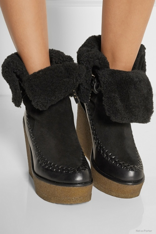 Coach Shearling-lined suede and leather wedge ankle boots available at Net-a-Porter for $595.00