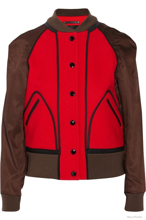 Coach Leather-trimmed wool and satin-twill bomber jacket available at Net-a-Porter for $795.00