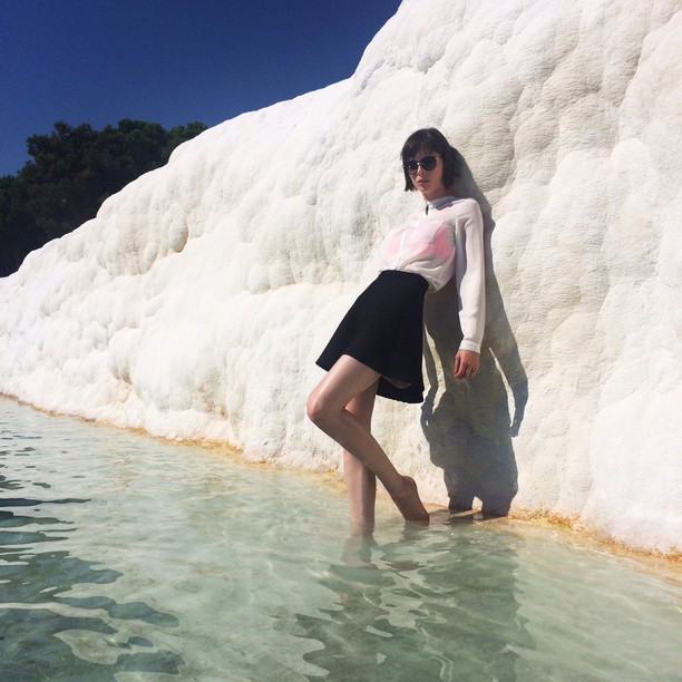 Coco Rocha poses next to salt mines