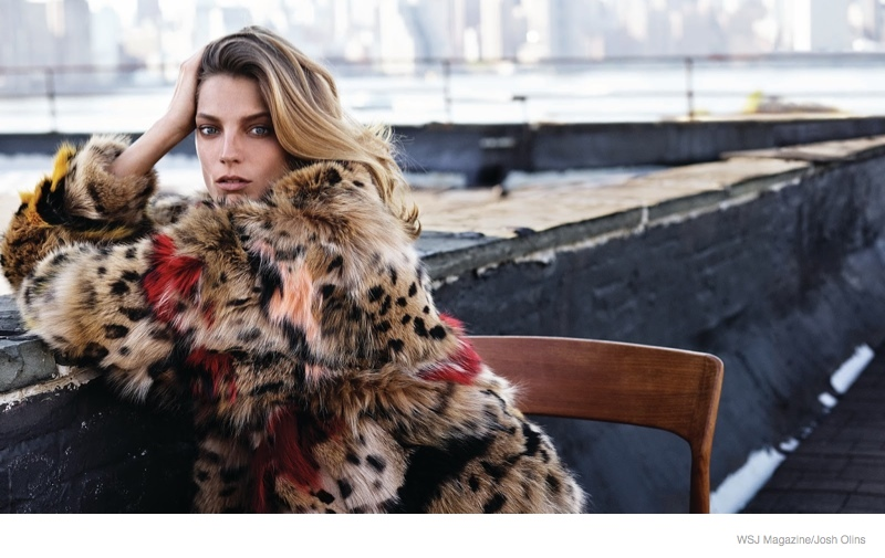daria werbowy casual luxe01 Daria Werbowy Wears Fur, Denim for Casual Luxe Shoot in WSJ