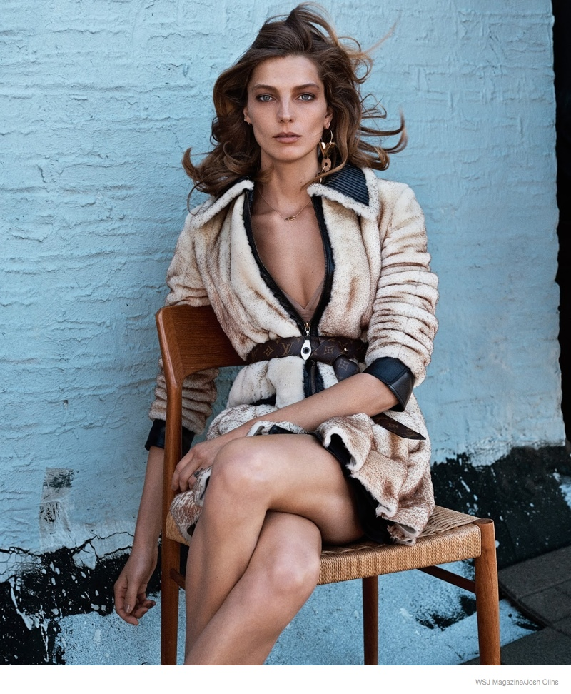 Daria Werbowy Wears Fur, Denim for Casual Luxe Shoot in WSJ