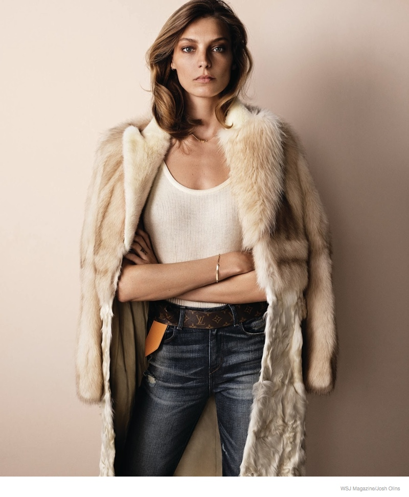 daria werbowy casual luxe05 Daria Werbowy Wears Fur, Denim for Casual Luxe Shoot in WSJ