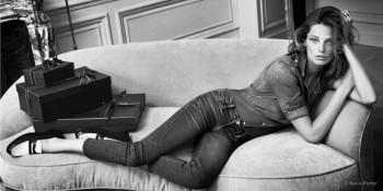 Daria Werbowy Lounges in Net-a-Porter's Fall 2014 Campaign