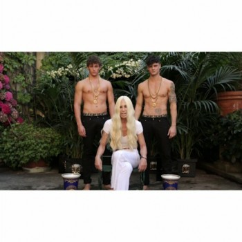 Donatella Versace Does the Ice Bucket Challenge with 2 Shirtless Male Models
