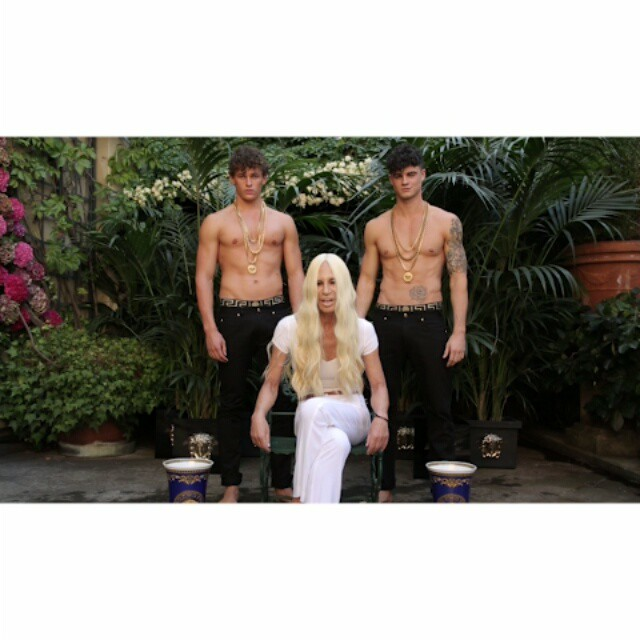 donatella versace ice bucket challenge video Donatella Versace Does the Ice Bucket Challenge with 2 Shirtless Male Models