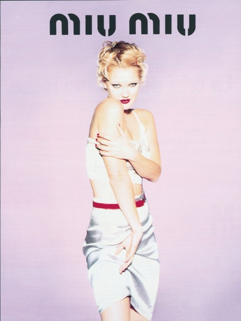 drew barrymore miu miu spring 1995 ad campaign01 TBT | Drew Barrymore Looks Very 90s in These Miu Miu Ads