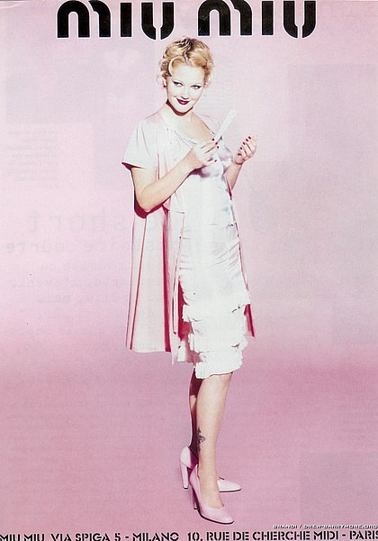 drew barrymore miu miu spring 1995 ad campaign05 TBT | Drew Barrymore Looks Very 90s in These Miu Miu Ads
