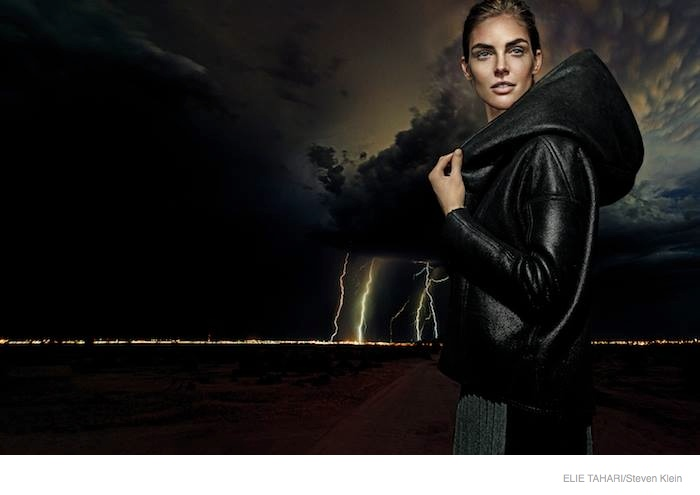 elie tahari outerwear fall 2014 ad campaign02 Hilary Rhoda Wears Fall Outerwear Styles in Elie Tahari's New Ads