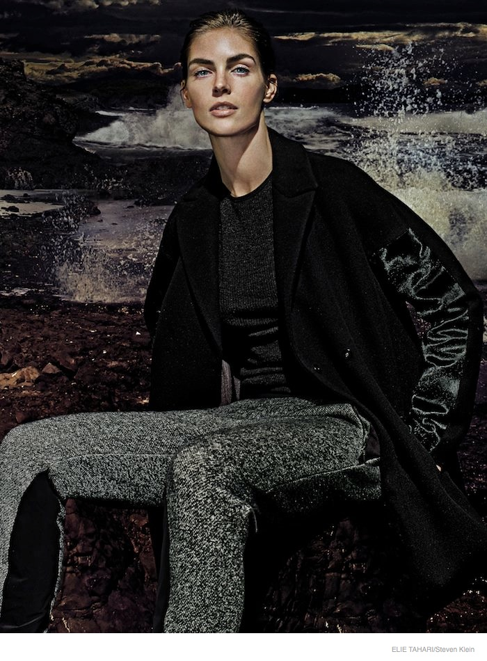 elie tahari outerwear fall 2014 ad campaign03 Hilary Rhoda Wears Fall Outerwear Styles in Elie Tahari's New Ads