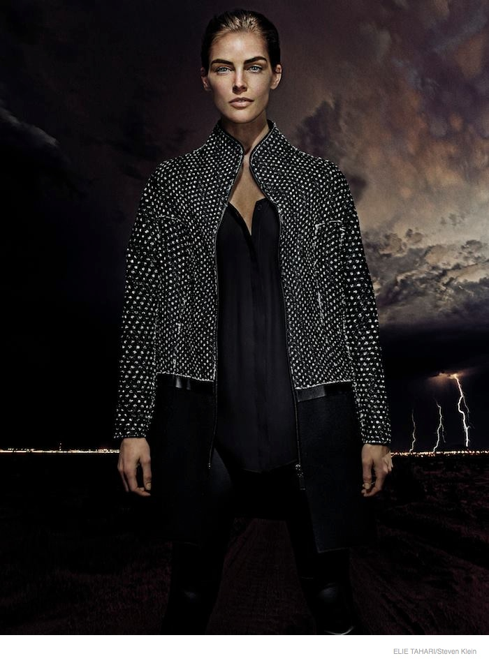 elie tahari outerwear fall 2014 ad campaign04 Hilary Rhoda Wears Fall Outerwear Styles in Elie Tahari's New Ads