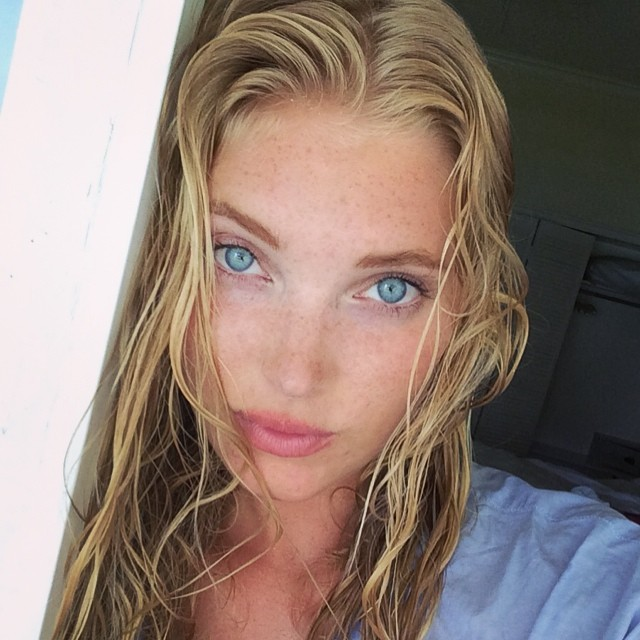 Elsa Hosk takes a photo in the Bahamas