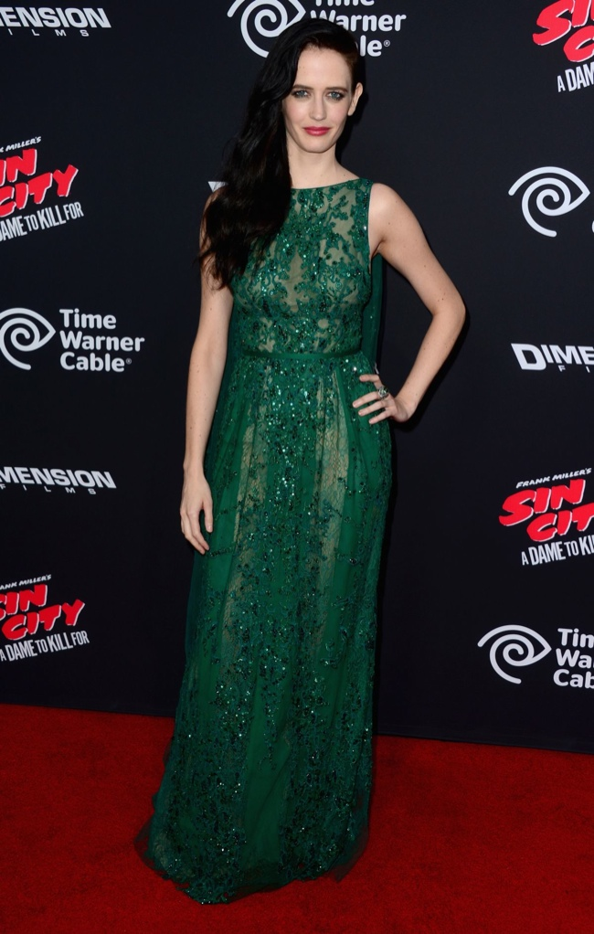 Eva Green wore a lace Elie Saab gown in emerald-green