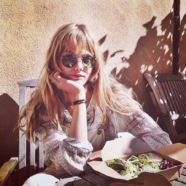 Frida Gustavsson poses in cool pair of sunglasses
