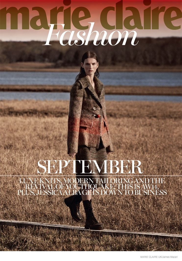 giedre dukauskaite knitwear fall style011 Cover Me: Giedre Dukauskaite Wears Fall Knitwear in Marie Claire UK by James Macari