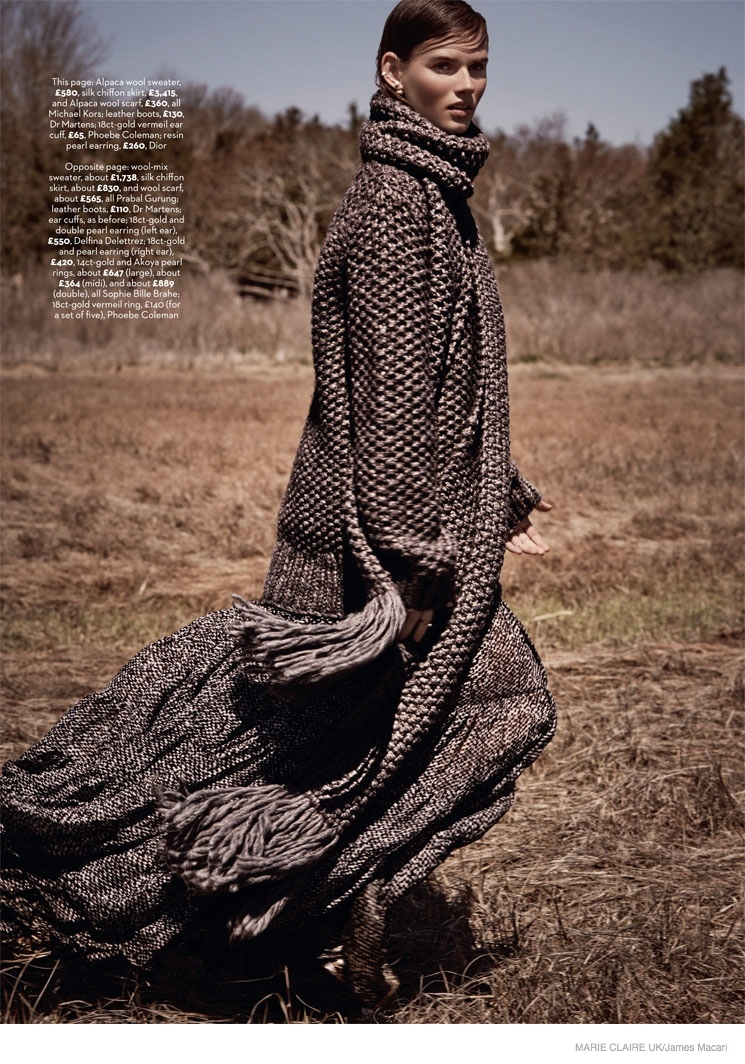 giedre dukauskaite knitwear fall style033 Cover Me: Giedre Dukauskaite Wears Fall Knitwear in Marie Claire UK by James Macari