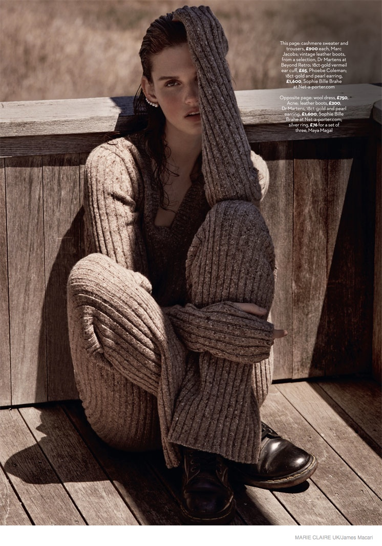 giedre dukauskaite knitwear fall style099 Cover Me: Giedre Dukauskaite Wears Fall Knitwear in Marie Claire UK by James Macari