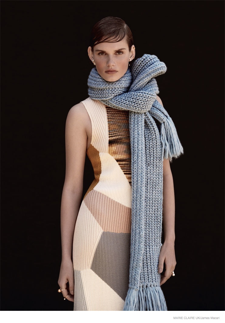 giedre dukauskaite knitwear fall style1010 Cover Me: Giedre Dukauskaite Wears Fall Knitwear in Marie Claire UK by James Macari