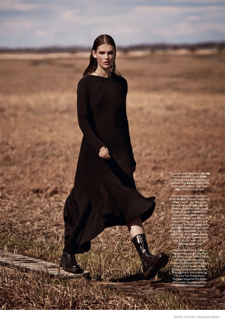 giedre dukauskaite knitwear fall style1111 Cover Me: Giedre Dukauskaite Wears Fall Knitwear in Marie Claire UK by James Macari