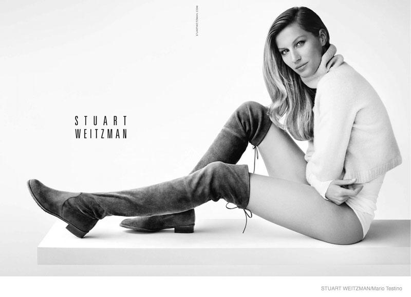 gisele bundchen stuart weitzman photos03 Gisele Bundchen Rocks the No Pants Look for Stuart Weitzman Fall Ads