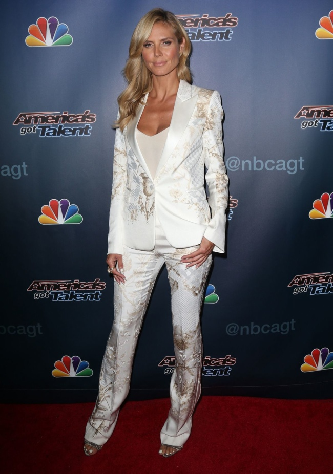 "Heidi Klum Wears White Roberto Cavalli Pantsuit at ""America's Got Talent"" Post Show Event"