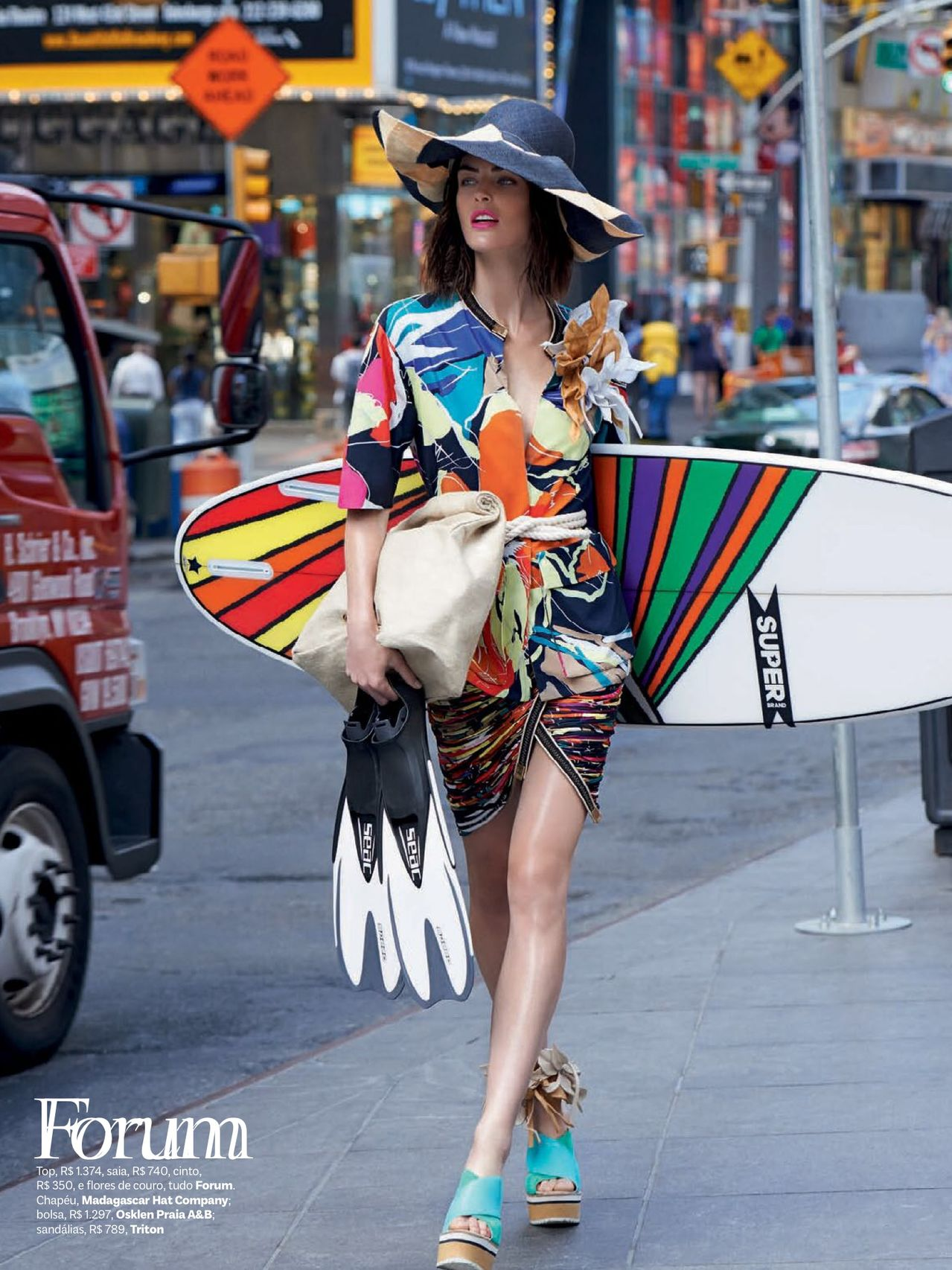 Hilary Rhoda Unveils the New Collections on the Beach & Streets for Vogue Brazil