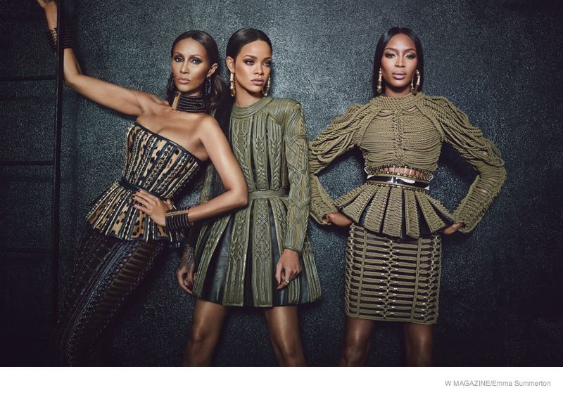 iman rihanna naomi campbell shoot01 Rihanna! Iman! Naomi! The Super Stars in Balmain for W Feature
