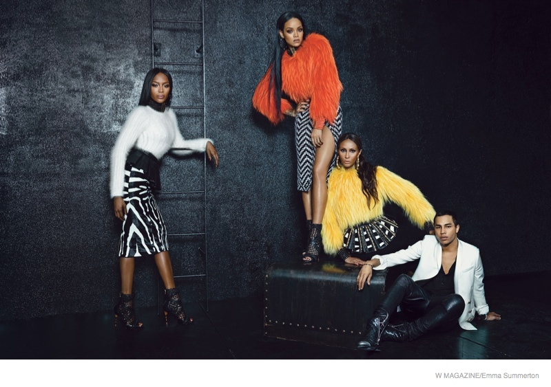 iman rihanna naomi campbell shoot03 Rihanna! Iman! Naomi! The Super Stars in Balmain for W Feature