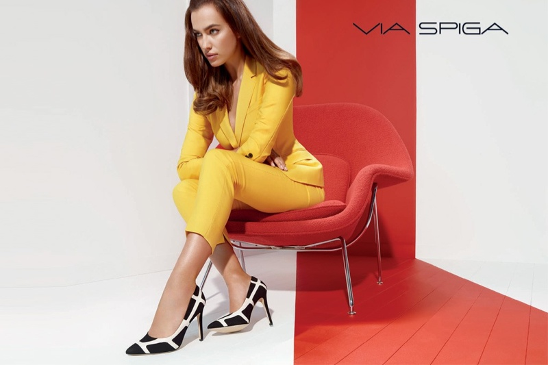 irina shayk via spiga 60s fashion ad campaign01 Irina Shayk Shows Off Her Legs in Via Spiga Fall 2014 Ads