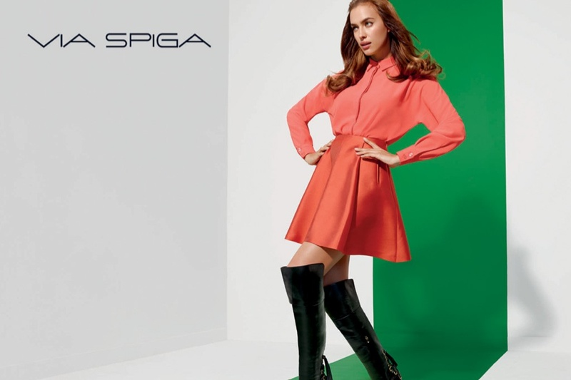 irina shayk via spiga 60s fashion ad campaign02 Irina Shayk Shows Off Her Legs in Via Spiga Fall 2014 Ads