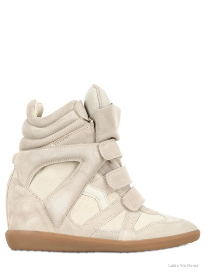 "Isabel Marant ""Bekett"" suede concealed wedge sneakers available at Luisa Via Roma for $ 670.00"
