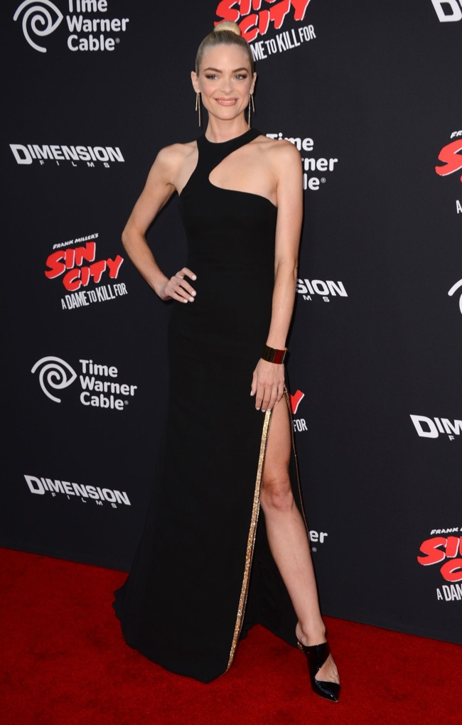 Jaime King showed some leg in a black Versace gown