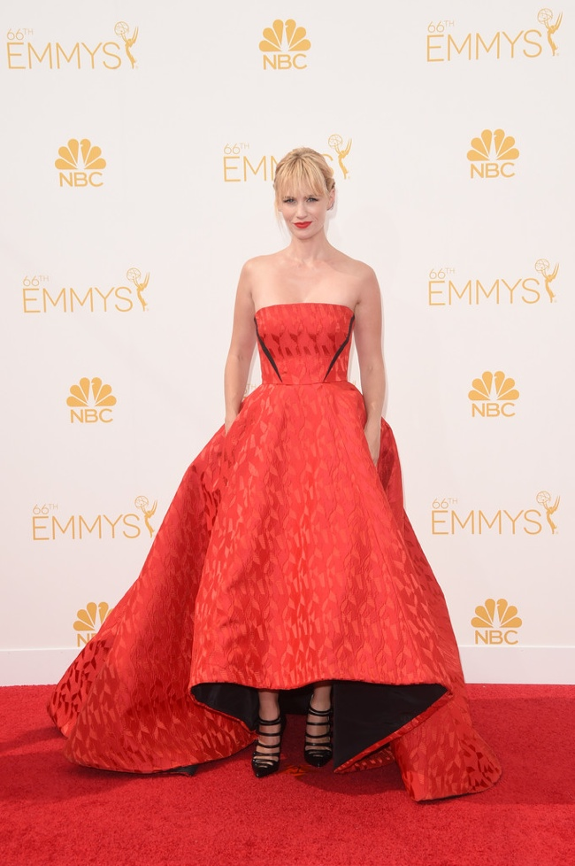 January Jones wore a red Prabal Gurung gown