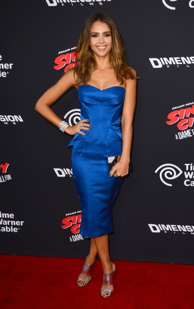 Jessica Alba dazzled in a blue Zac Posen dress