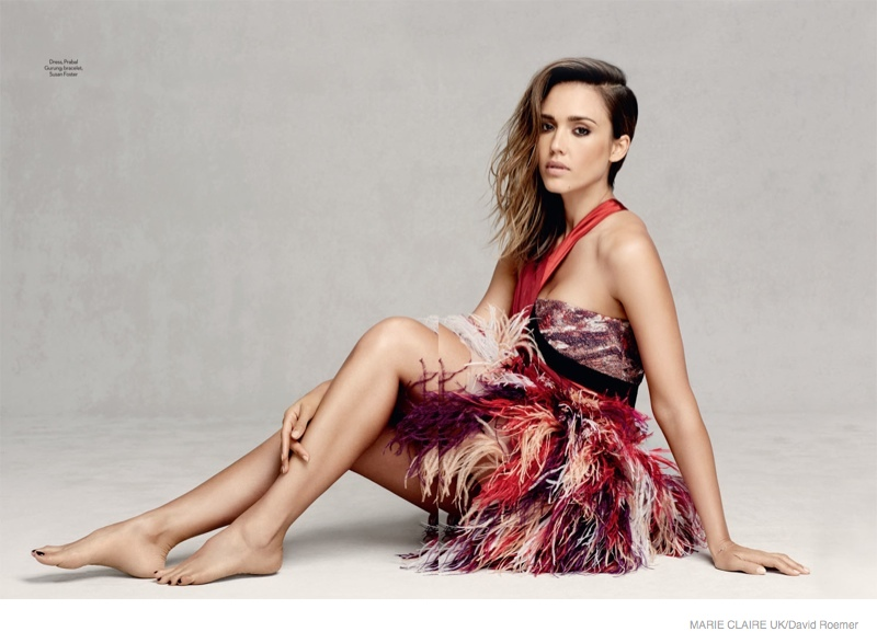 jessica alba dresses david roemer shoot03 Jessica Alba in Fall Dress Styles for Marie Claire UK by David Roemer