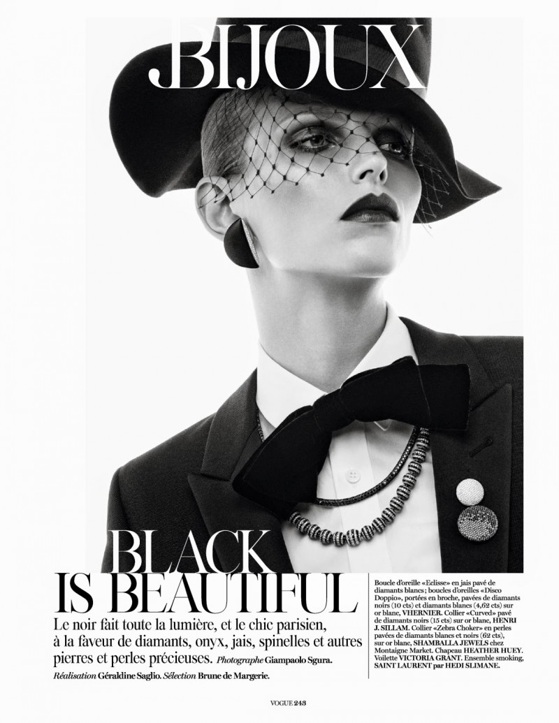 jewels002 800x1035 Karlina Caune Sparkles in Black Jewels for Vogue Paris by Giampaolo Sgura