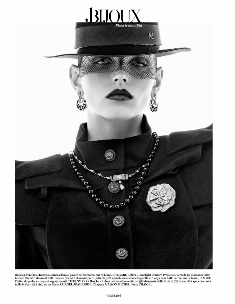 jewels004 800x1035 Karlina Caune Sparkles in Black Jewels for Vogue Paris by Giampaolo Sgura