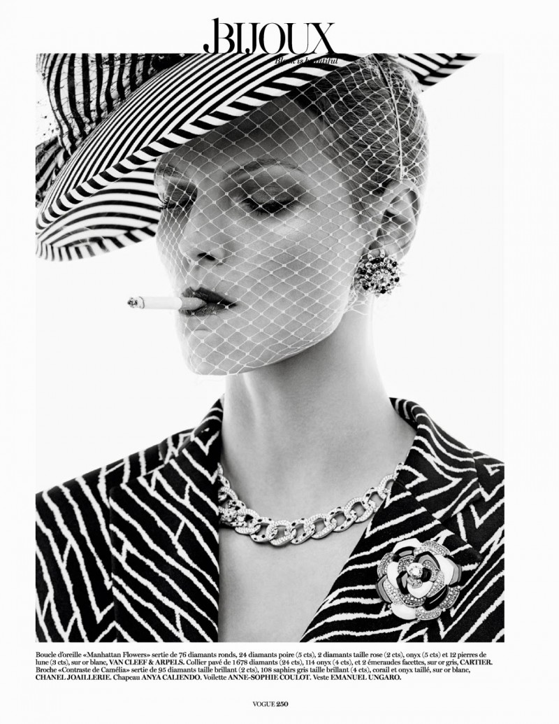 jewels005 800x1035 Karlina Caune Sparkles in Black Jewels for Vogue Paris by Giampaolo Sgura